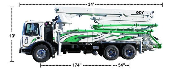DY Concrete Pumps 33-M Boom Pump with dimensions
