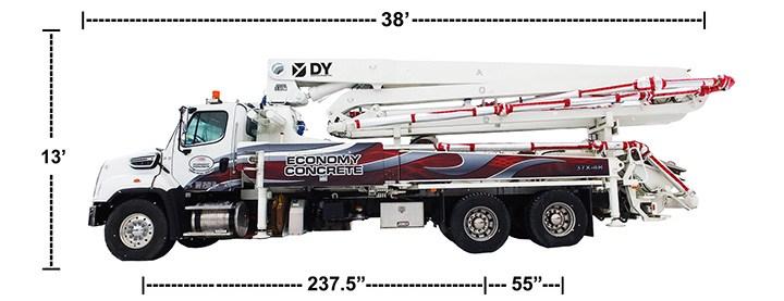 DY Concrete Pumps 37X-4R concrete boom pump with dimensions