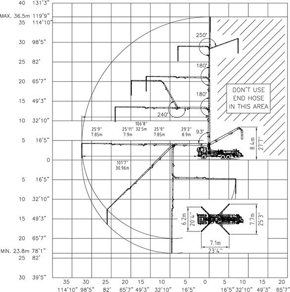 diagram showing DY Concrete Pumps 37X-4R pump working range