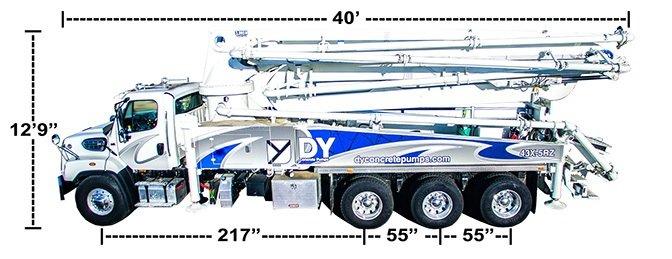 DY Concrete Pumps 43X-5RZ concrete boom pump with dimensions