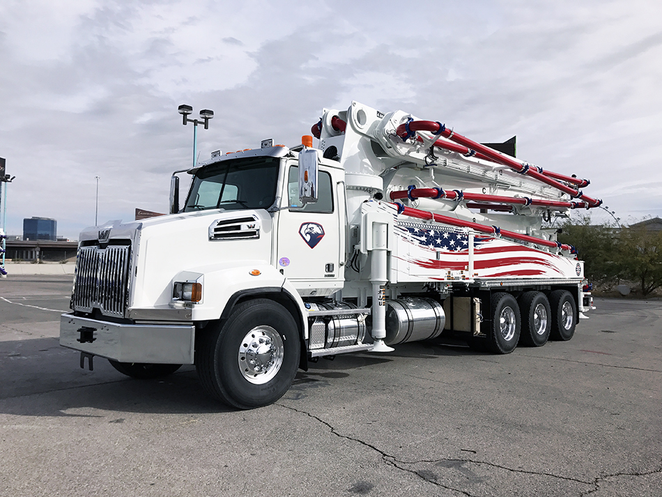 DY Concrete Pumps 43 meter 5 section boom pump with American flag design