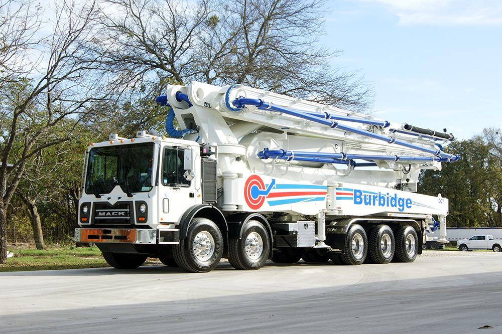 RZ 57 meter concrete boom pump manufactured by DY Concrete Pumps for Burbidge