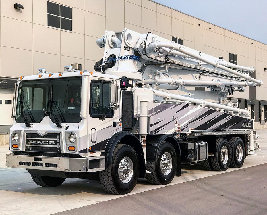 DY Concrete Pumps 43 meter RZ concrete boom pump with black, gray, and white design