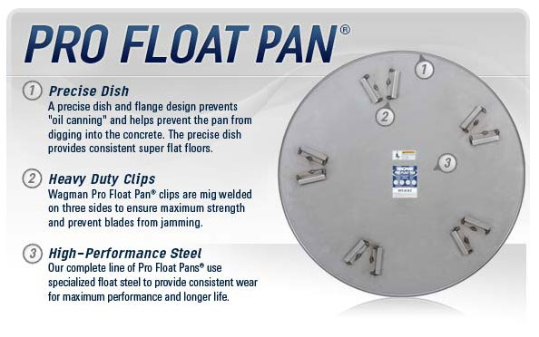 Wagman Pro Float Pan available from DY Concrete Pumps