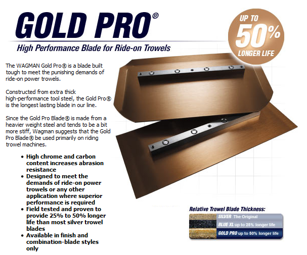 Gold Pro high performance blades for ride on trowels available from DY Concrete Pumps