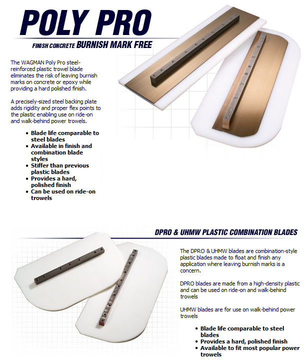 Poly Pro finishing blades available from DY Concrete Pumps