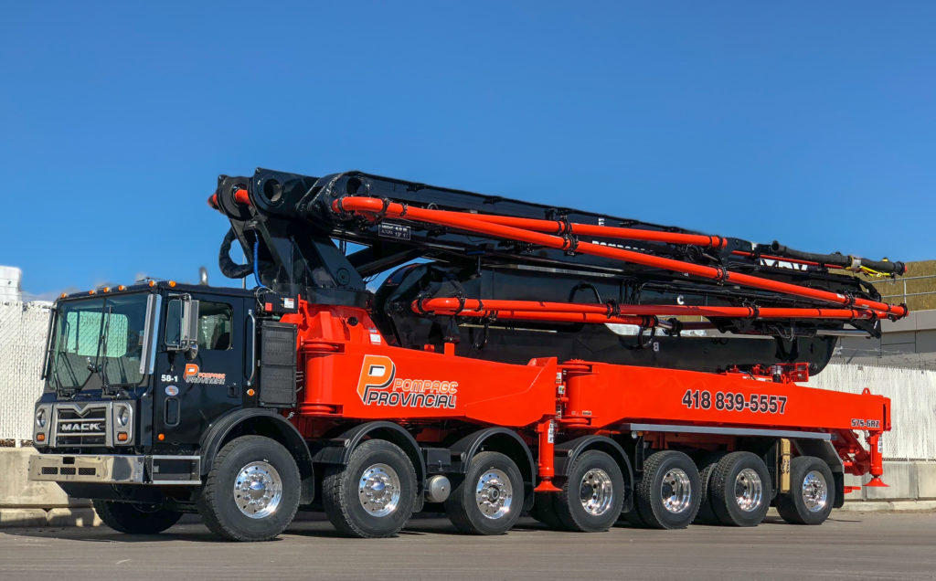 57 meter 6 section RZ concrete boom pump manufactured for Pompage Provincial