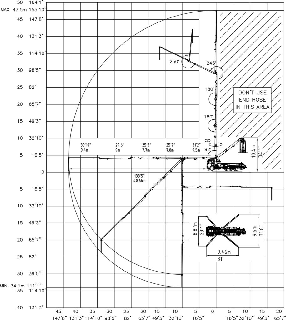 48 meter 5 section RZ-fold boom pump working diagram