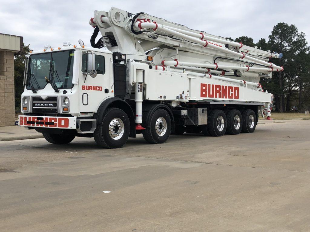 RZ 57-meter concrete boom pump manufactured for Burnco