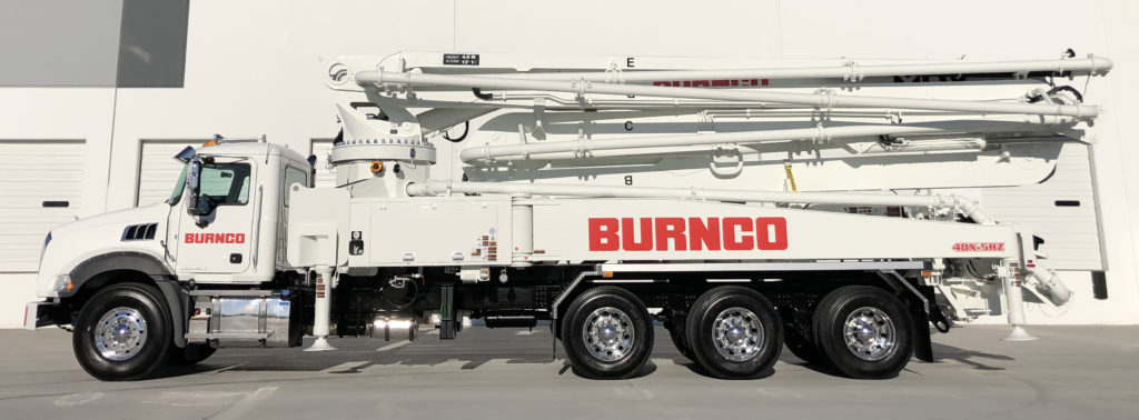 48 meter 5 section RZ-fold boom pump 48X-5RZ manufactured for Burnco by DY Concrete Pumps